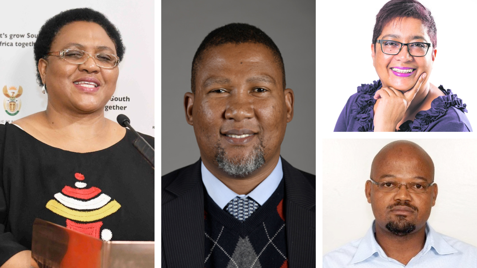 Pictured from left is Thoko Didiza, minister of agriculture, land reform and rural development, Nkosi Zwelivelile Mandela, chairperson of the portfolio committee on agriculture, land and rural development, (top right) Joyene Isaacs, chairperson of the Agricultural Research Council and (bottom right) Dr Boitshoko Ntshabele, new interim chairperson of Onderstepoort Biological Products. Photo: Supplied.