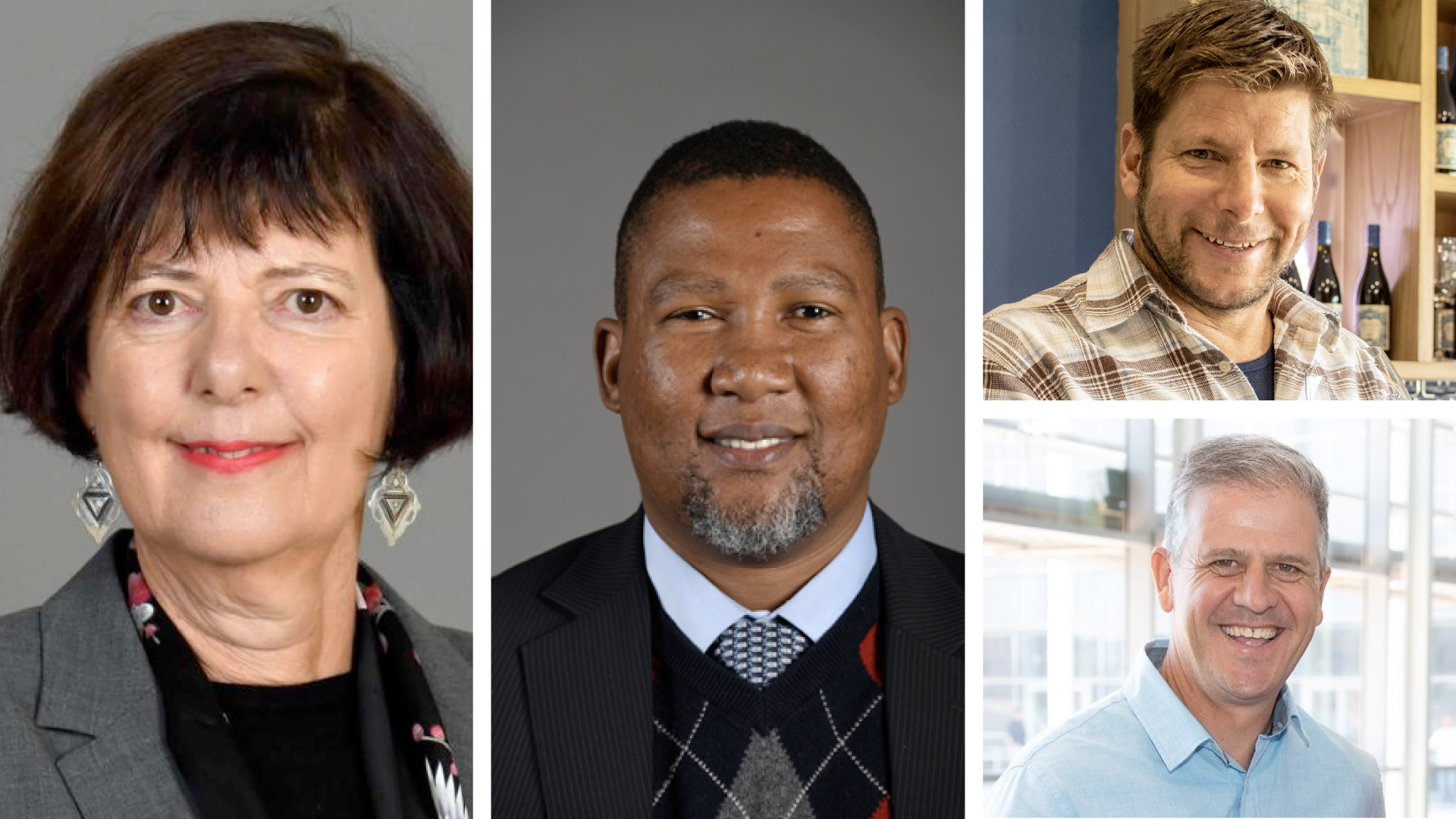 Pictured from left are Barbara Creecy, the minister of fisheries, forestry and the environment, Nkosi Zwelivelile Mandela, chairperson of the portfolio committee on agriculture, land and rural development, (top right) Gunter Schultz, Baleia Wines winemaker and general manager and (bottom right) Christo Pienaar, chairperson of the SA National Wine Show Association. Photo: Supplied.