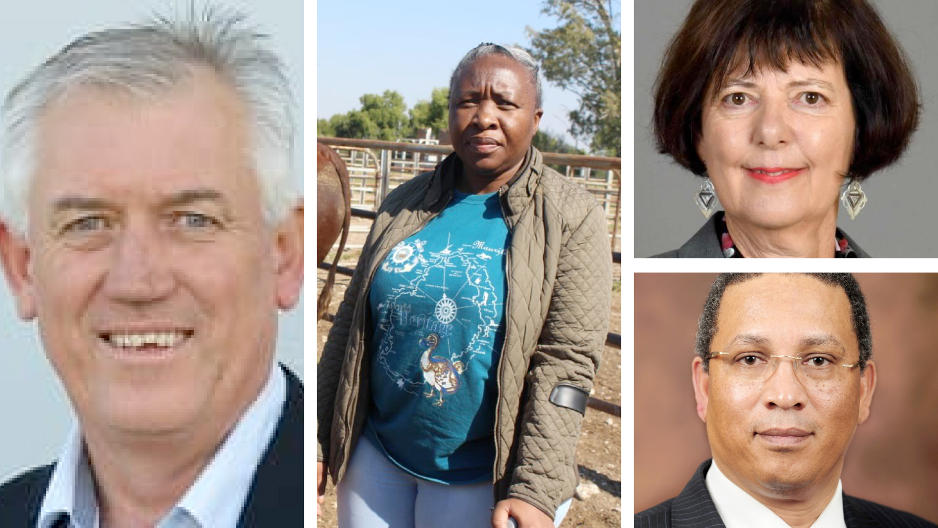 Pictured from left are Trevor Dukes, chairman of PMA Southern Africa, Desbo Mohono, North West MEC for Agriculture, (top right) Barbara Creecy, minister of fisheries, forestry and the environment and (bottom right) Dr Ivan Meyer, Western Cape minister of agriculture. Photo: Supplied