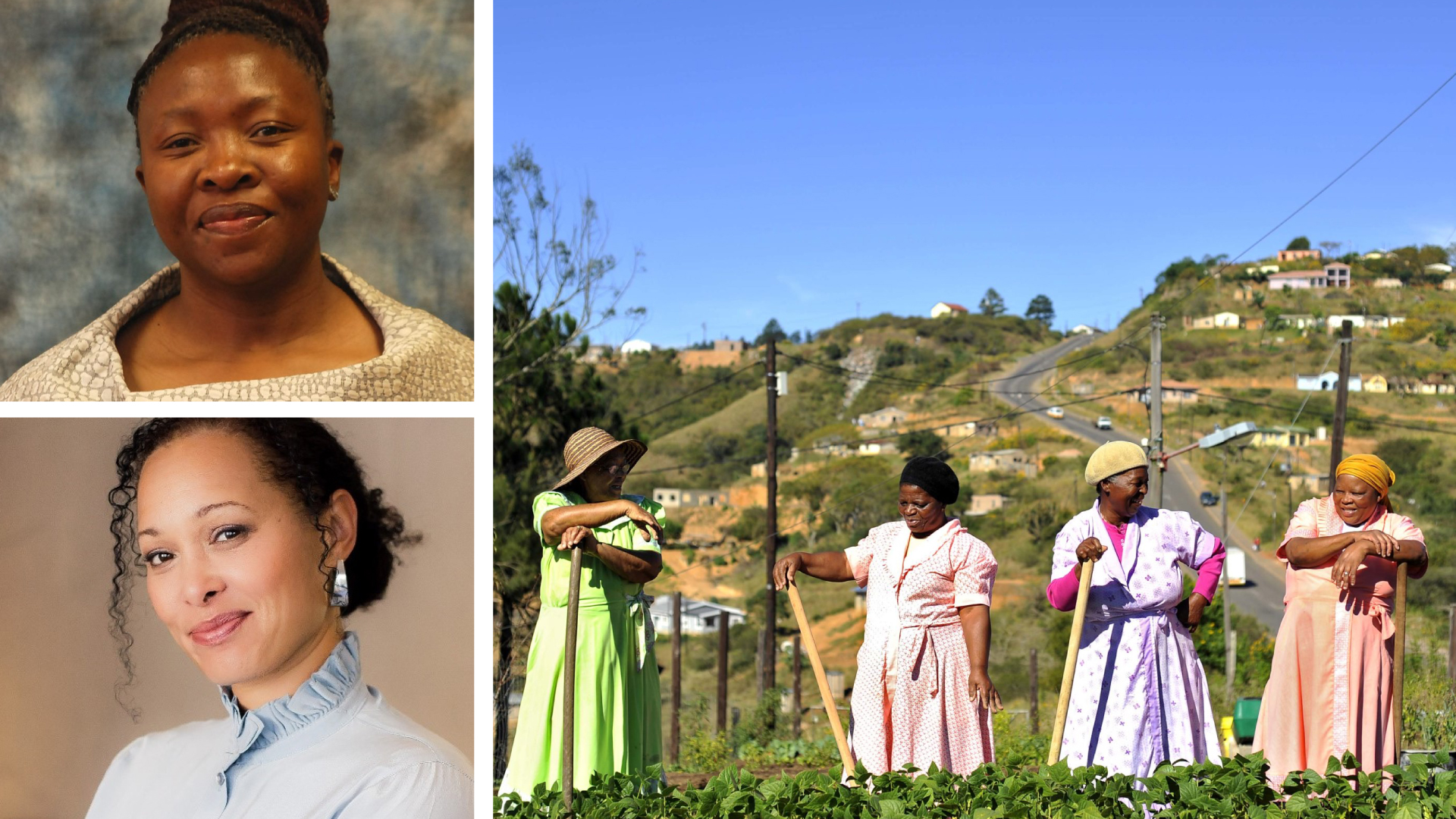 Pictured clockwise from the top left are Desbo Mohono, MEC for North West department of agriculture and rural development, a group of female farmers in KwaZulu-Natal and Ellen Fischat, managing director of Oribi Village. Photo: Supplied.