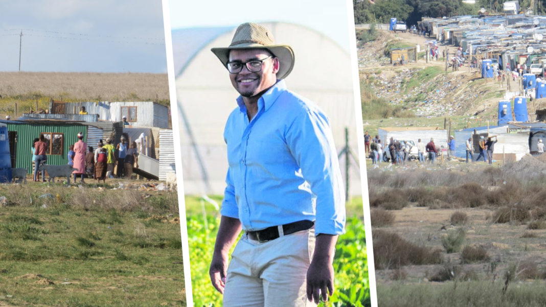 Years of backbreaking work by hydroponic farmer, Byron Booysen, currently hangs in the balance due to unlawful land occupations in Kraaifontein in the Western Cape. Photo: Supplied.