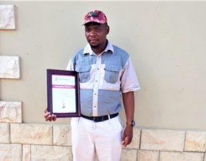 Bush Masiu winning won 2018 top achiever award in animal production with the Sernick Group. Photo: Supplied.