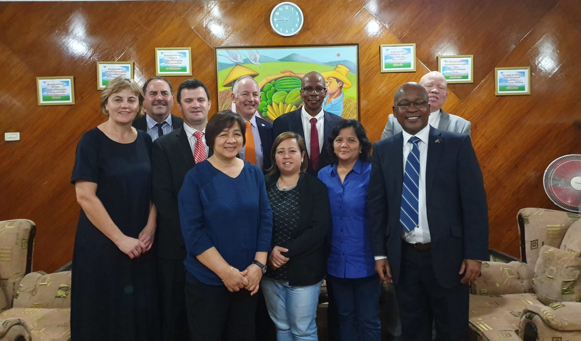(Back row, third from left) Mooketsa Ramasodi, deputy director-general at the department of agriculture and (front row, first from right) Sitembele Kelembe, South African department of agriculture representative in Japan, with Philippine delegates during the lengthy negotiations to open up the Philippine market to South African citrus. Photo: Supplied