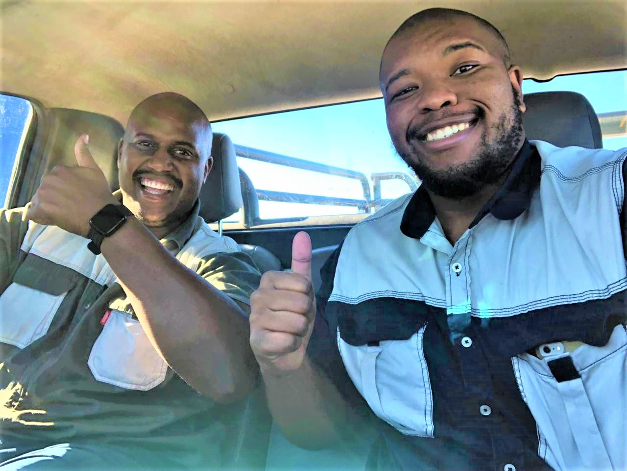 Athenkosi Denga and Soyama Mtongana have been trading livestock since they were in their teens. Today, the duo is running the first black-owned auction service in the Eastern Cape. Photo: Supplied.