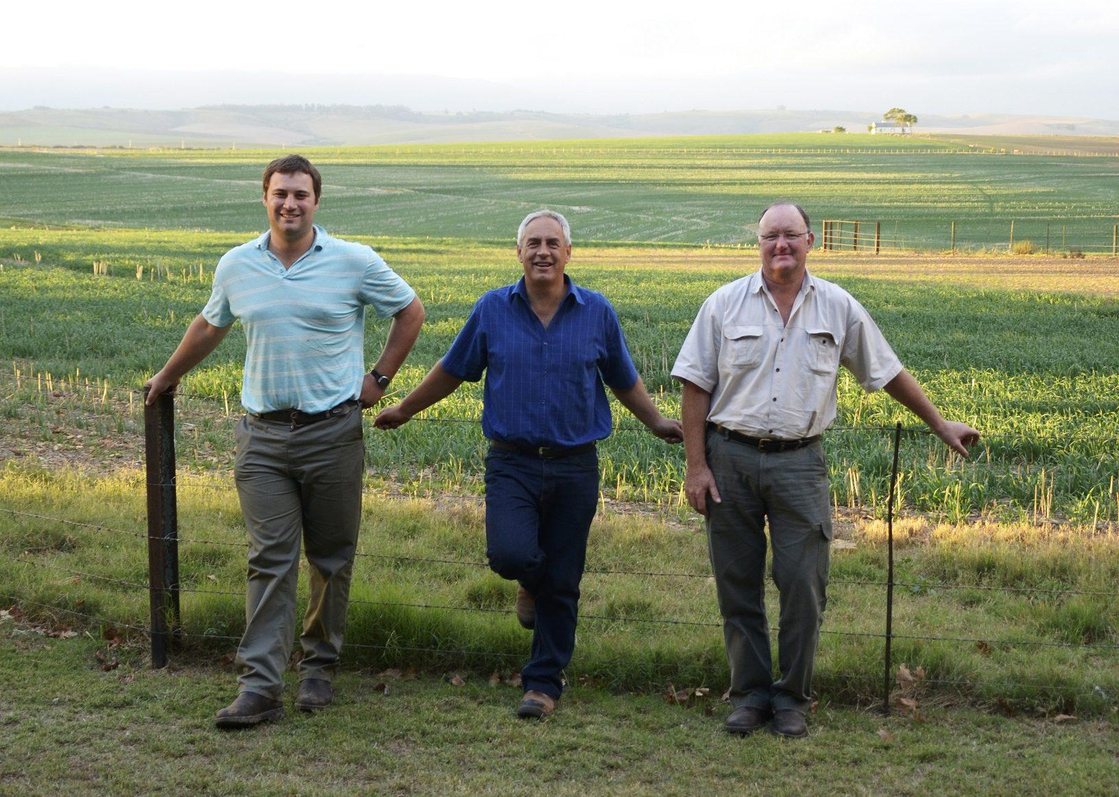 Pieter Steenkamp, Dirk van Papendorp and Arno Steenkamp from Tweekop Boerdery in Swellendam in the Western Cape. Photo: Landbouweekblad / Supplied by Agri-Expo