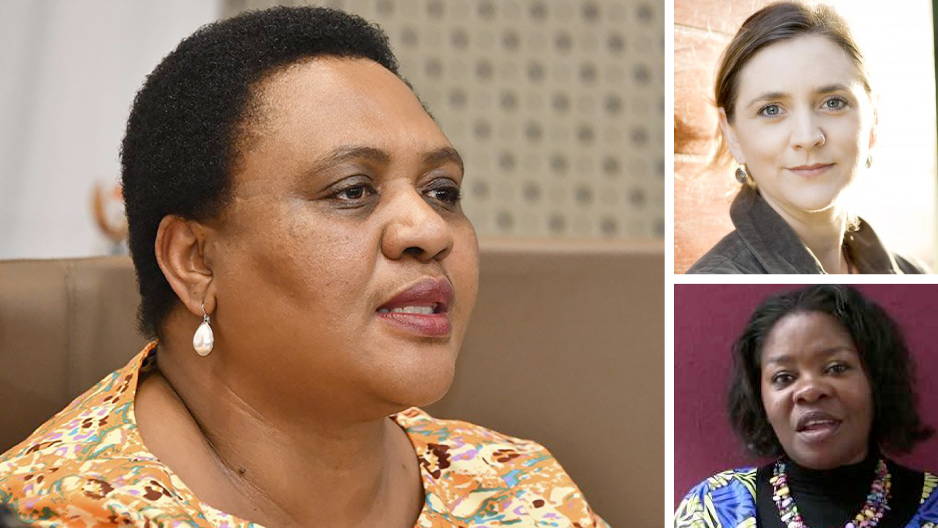 Pictured from left are Thoko Didiza, the minister of agriculture, land reform and rural development, (top right) Ruth Hall professor at PLAAS at the University of the Western Cape and (bottom right) Editrudith Lukanga, founder and executive director of the environmental management and economic development organization. Photo: Supplied.