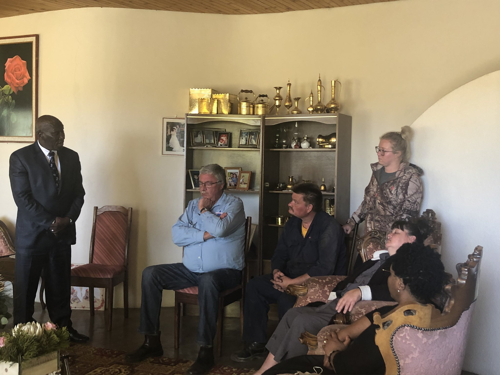Police minister Bheki Cele and minister of state security Ayanda Dlodlo visited the family of slain Brendin Horner in a bid to diffuse tensions in Senekal, Free State Photo: Twitter