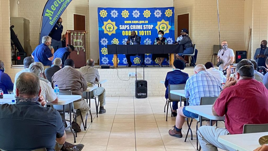 Ministers Bheki Cele and Ayanda Dlodlo met with eastern Free State farmers today regarding increasing farm attacks and crime in the region. Photo: Tshepo Moime/Twitter