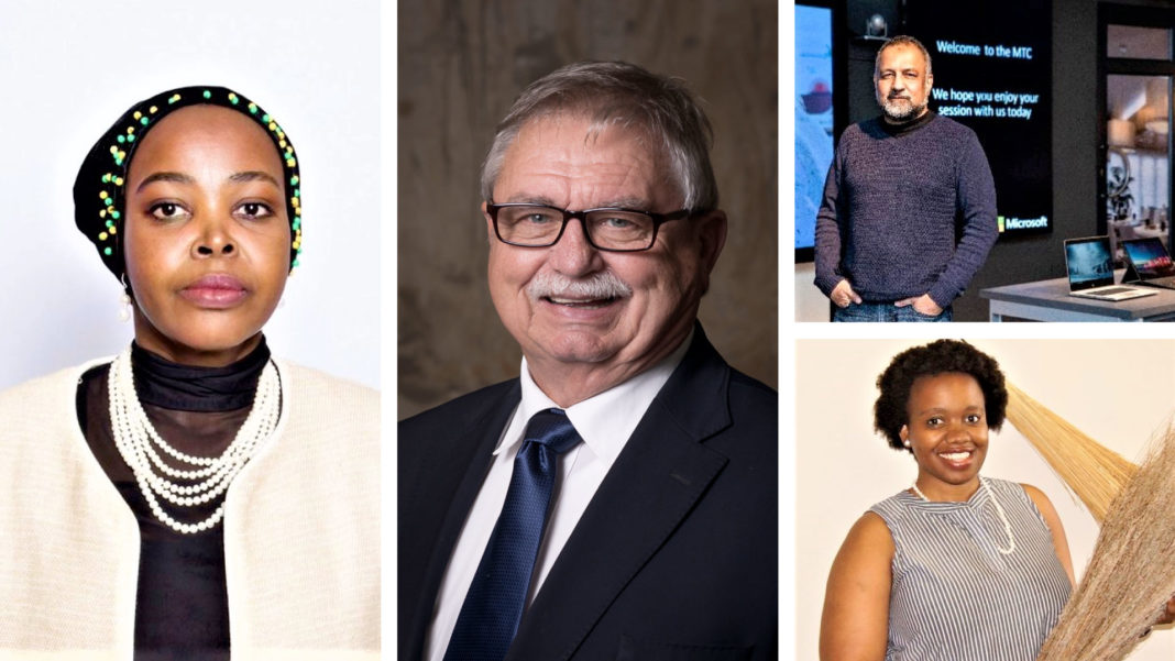 Pictured from left are Morakane Mosupyoe, Gauteng department of agriculture and rural development MEC, Pierre Vercueil, president of Agri SA, (top right) Asif Valley, national technology officer at Microsoft SA and (bottom right) Tshepo Fokane research and programs lead at PLAAS. Photo: Supplied.