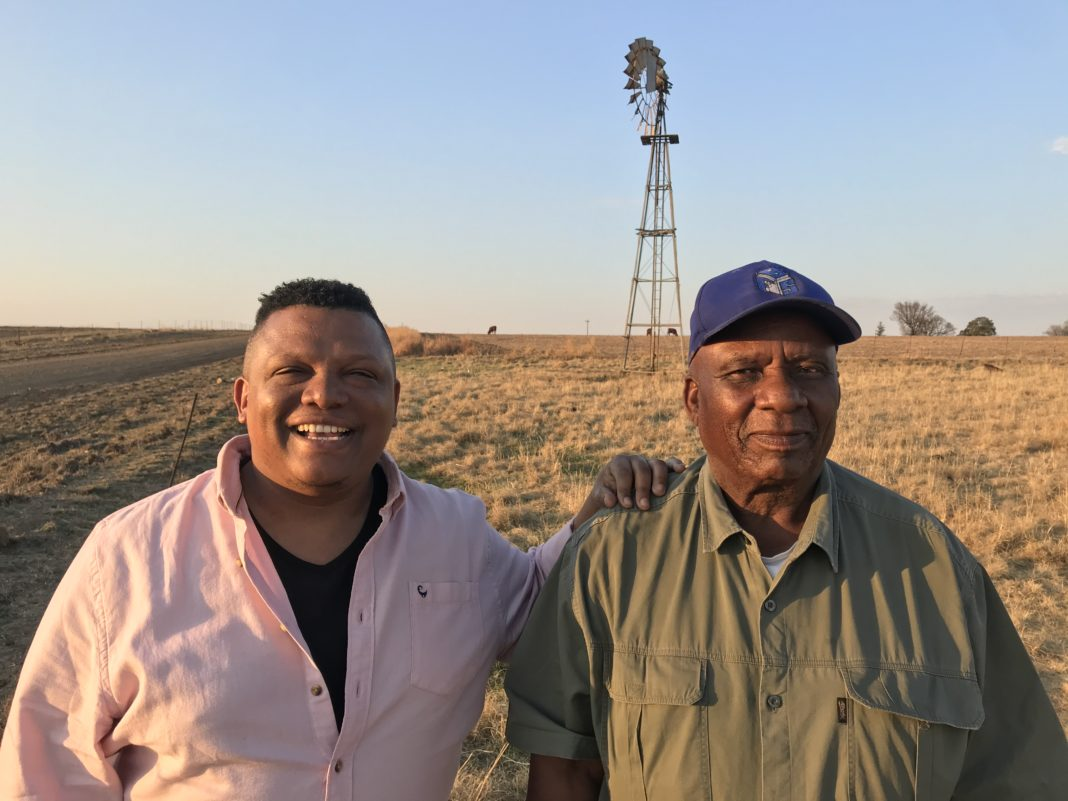 Television presenter Ivor Price and Free State farmer Samson Mahlaba, who was featured on