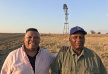 "Television presenter Ivor Price and Free State farmer Samson Mahlaba, who was featured on ""Vir die liefde van die land"" on DStv. Photo: Food For Mzansi"