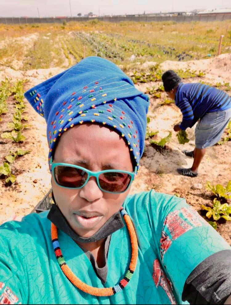 Thozama Sikiti is growing spinach on a plot she leases from the City of Cape Town. Photo: Supplied