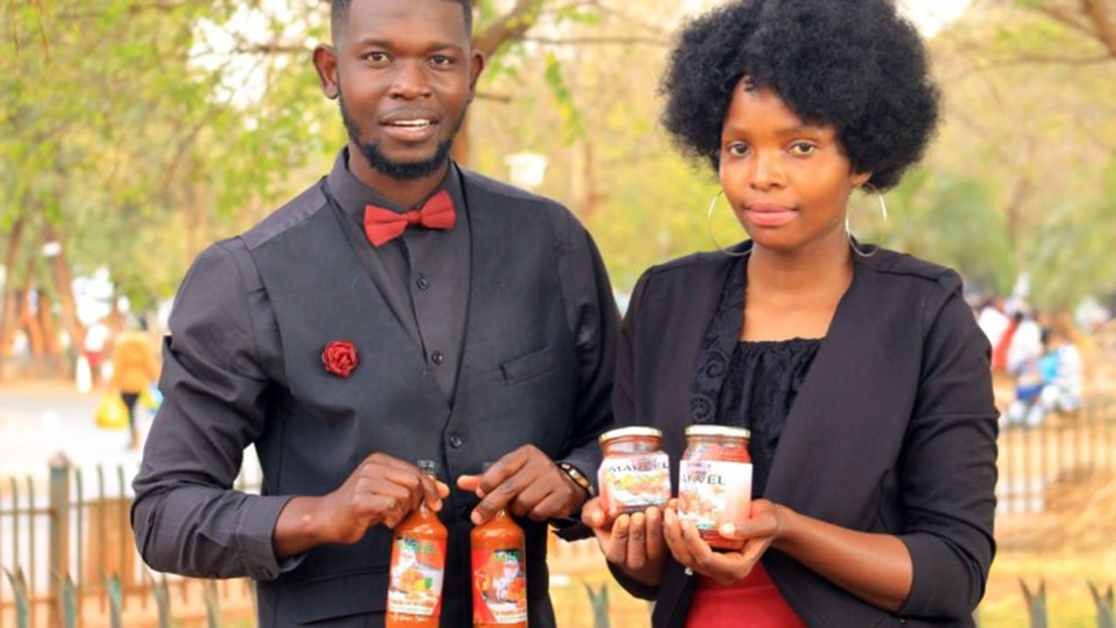 Phathutshedzo Madula and Mpfariseni Rasimphi are the owners of Marvel Chilli Sauce producing three products, including tomato jam, fruits jam and vegetable atchaar sauces. Photo: Supplied