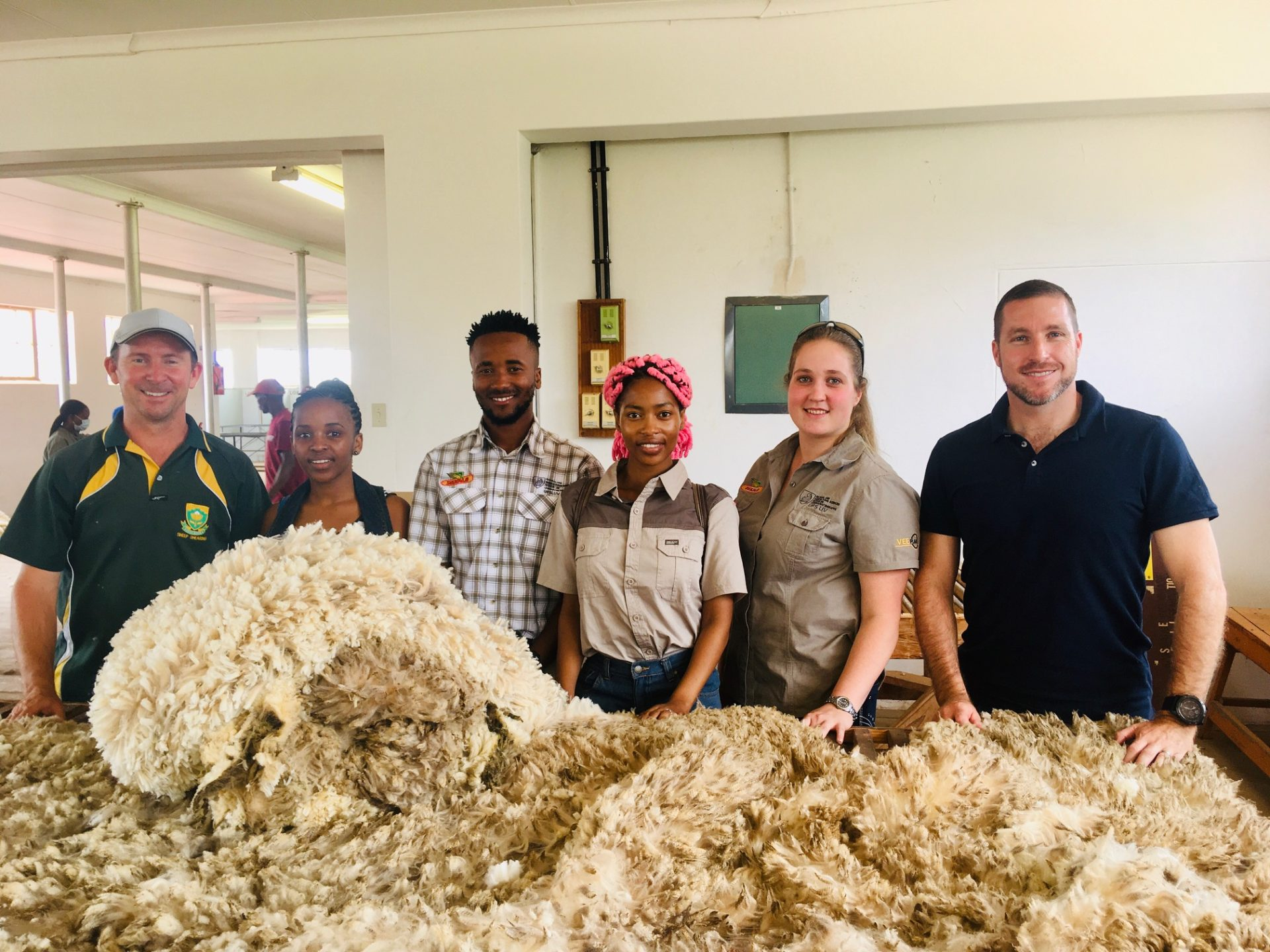 Fifteen students from the University of the Free State will directly benefit from a communal farmers project, including two PhD and three Master's students. Pictured from the left are Andries Strauss, Ketshepileone Matlhoko, Bonga Madyibi, Alina Ntsipane, Michelle Marais and Dr Jan Swanepoel. Photo: Supplied