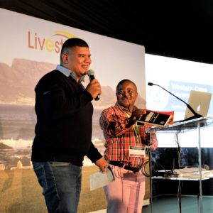 Breyton Milford and Northern Cape farmer, Ettiene van Wyk pictured at a Siyabonga Day. Photo: Supplied.
