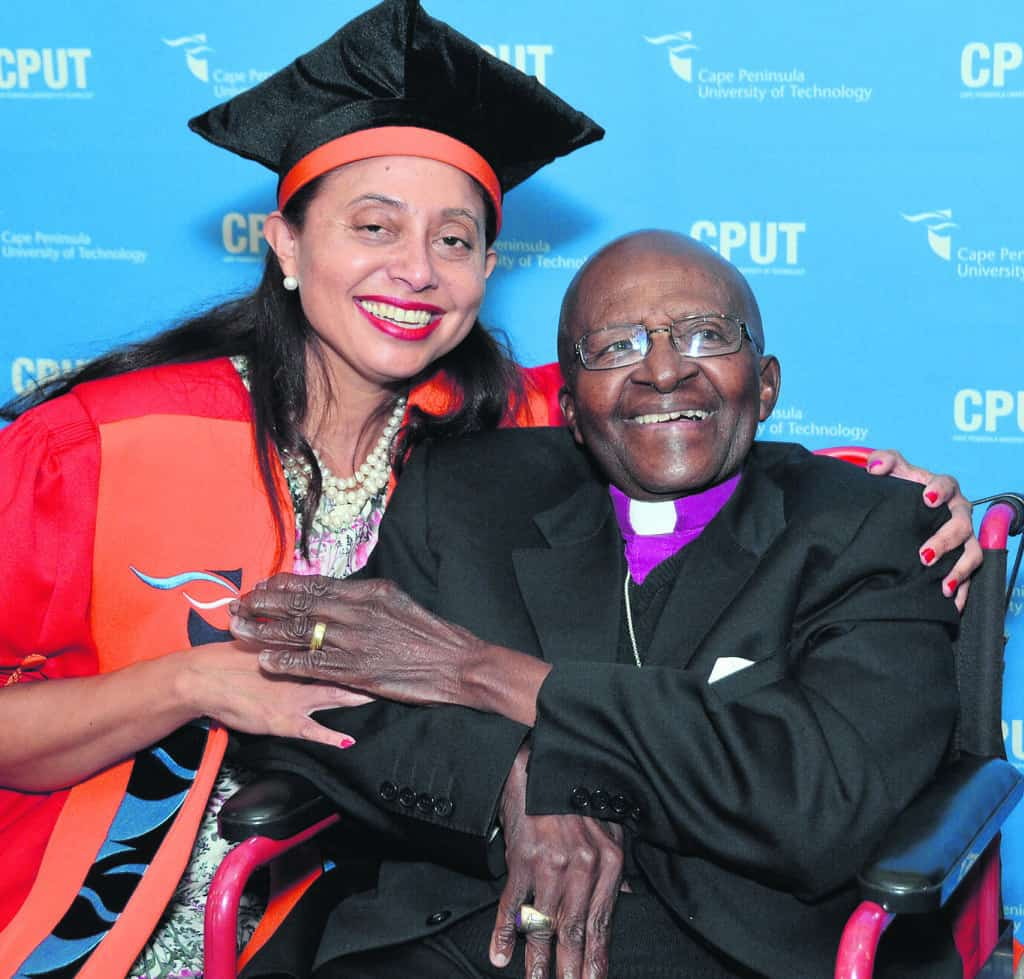 Dr Marlene le Roux and one of her role models, Archbishop Desmond Tutu. Photo: Supplied