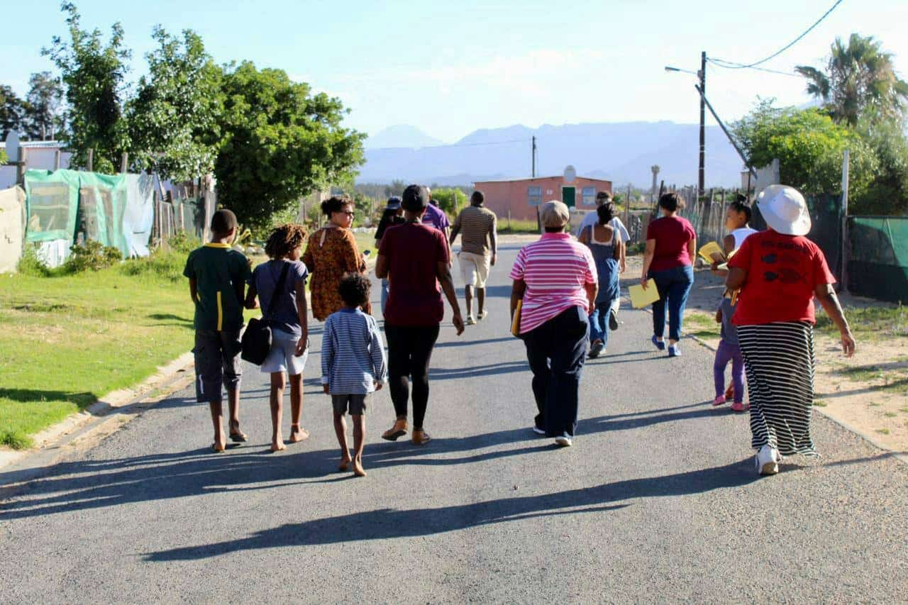 Members of the Fighting for Water Justice Coalition pictured earlier in the streets of Ceres in the Western Cape spreading awareness about covid-19. Photo: Supplied