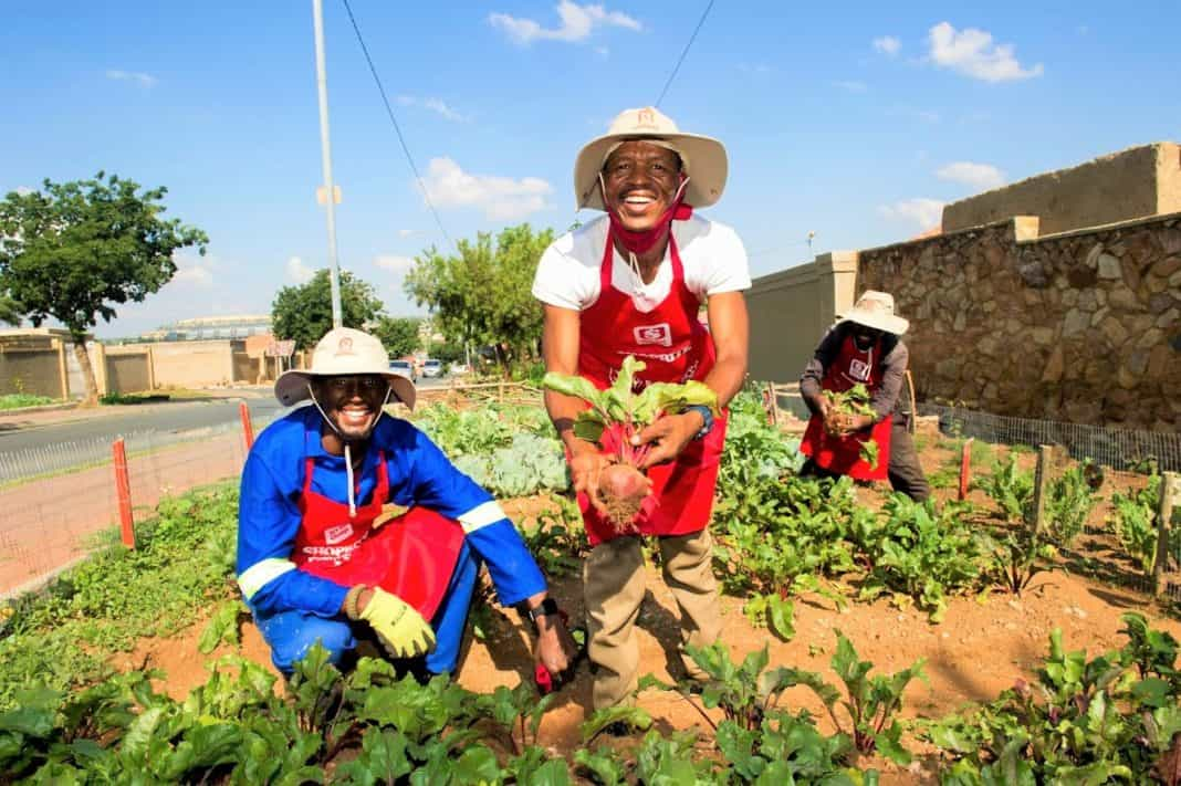 Participants in the Sgangala food garden project, including Mpho Shasha, Thabiso Maphike and Muzi Vezi
