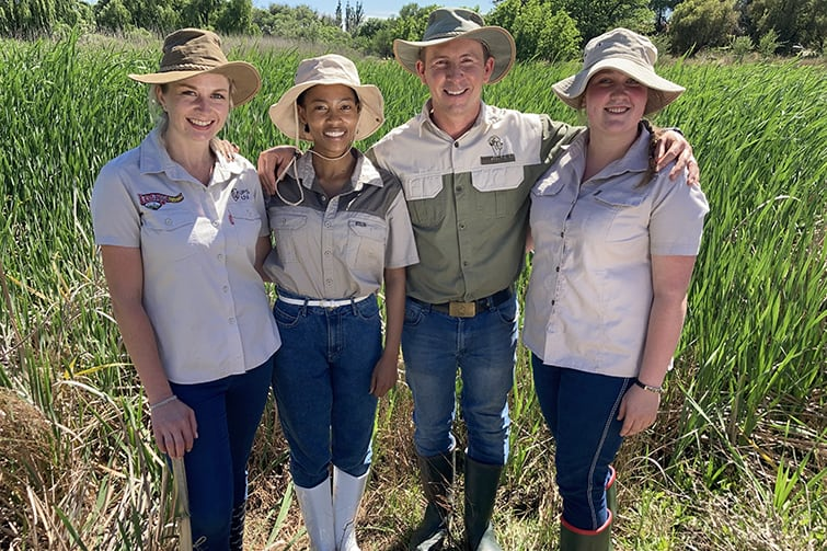 The University of the Free State team that emerged as victors in the IFAMA international case study competition, were (from the left) Carien Denner, Alina Ntsiapane, and Andries Strauss, all three from the Centre for Sustainable Agriculture, and Michelle Marais from the department of agriculture economics. Photo: Supplied