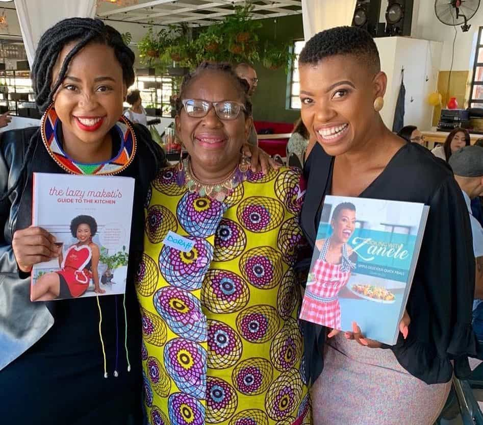 Celebrity chefs Mogau Seshoene (known as The Lazy Makoti (left) and Zanele van Zyl (right) pictured with iconic food editor Sitole (middle). Photo: Supplied
