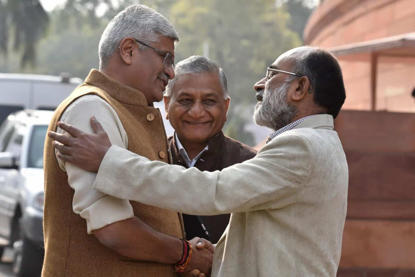 From left, minister of state for agriculture and farmers welfare Gajendra Singh Shekhawat with fellow ministers VK Singh and KJ Alphonso during an earlier session of parliament. Photo: Sanjeev Verma/ Hindustan Times via Getty Images