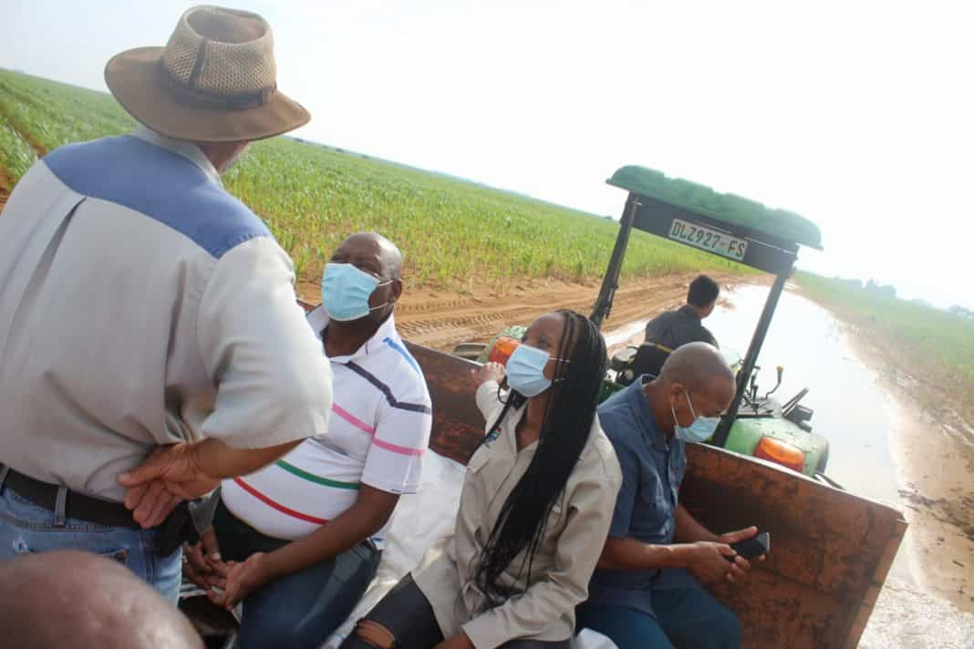 Free State MEC for agriculture and rural development William Bulwane during a site-visit to some of the Bultfontein farms damaged by heavy rains. He was accompanied by Tankiso Matsholo, mayor of the Tswelopele Local Municipality, and councillor Motsabinyana Raseu. Photo: Supplied