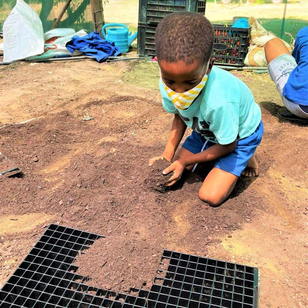 Six-year-old Zavon filling his seedling tray with soil on the Middelpos farm. Photo: Supplied/FoodForMzansi