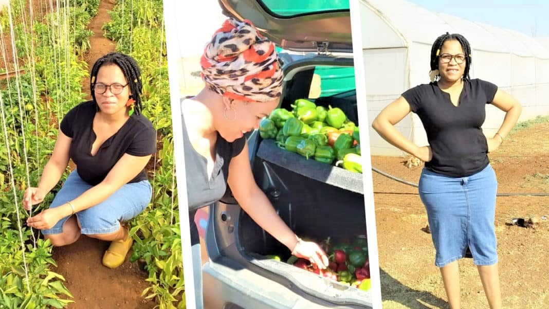 Kamogelo Hantise is the owner of a vegetable hydroponic business in the Northern Cape, which she founded after dropping out of college. Photo: Supplied/FoodForMzansi