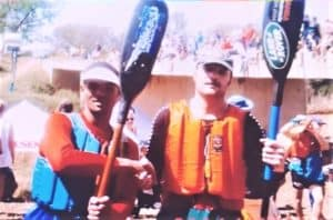 Paul Lombard (left), in his younger rowing days pictured alongside his coach and mentor. Photo: Supplied.