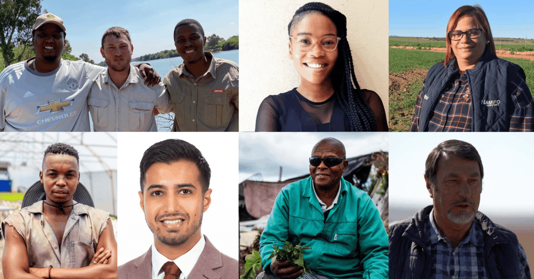 """The agricultural sector is filled with stories of inspiration. Pictured clockwise from the top left are Free State farming """"brothers"""" Buzwe Pama, Pieter van Heerden and Buchule Jack, Grain SA economist Ikageng Maluleke, Western Cape grain farmer Alfreda Mars, VKB director and farmer Coenraad Fick, township gardener Vuyo Tsika, exporter Uzair Essack and aquaponics pioneer Mosesi Mosesi. Photos: Supplied"""
