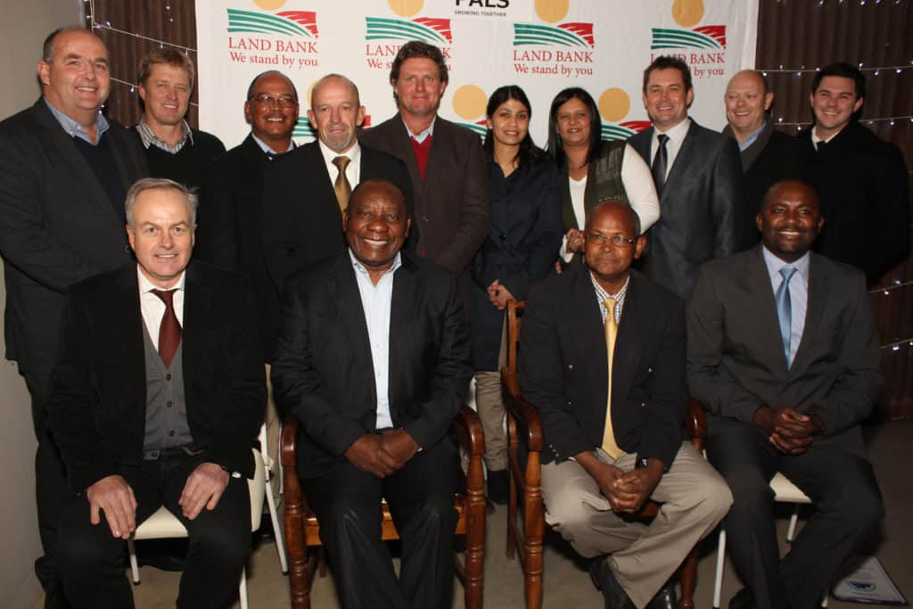 President Cyril Ramaphosa pictured in 2017 with representatives from Witzenberg PALS, a private land reform initiative established by commercial farmers in the Western Cape. Photo: Supplied/Luigi Heuning Photography