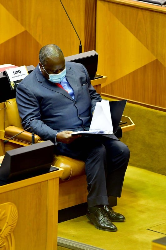 Finance minister Tito Mboweni has one last look at his 2021 budget speech before delivering it to the nation. Photo: GCIS/Flickr