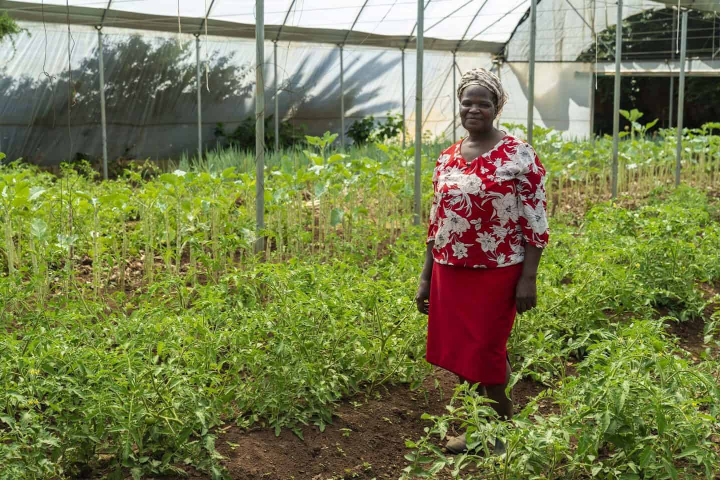Founder Refiloe Molefe inside a greenhouse flourishing with healthy, organically grown food at the Bertrams Inner City Farm.
