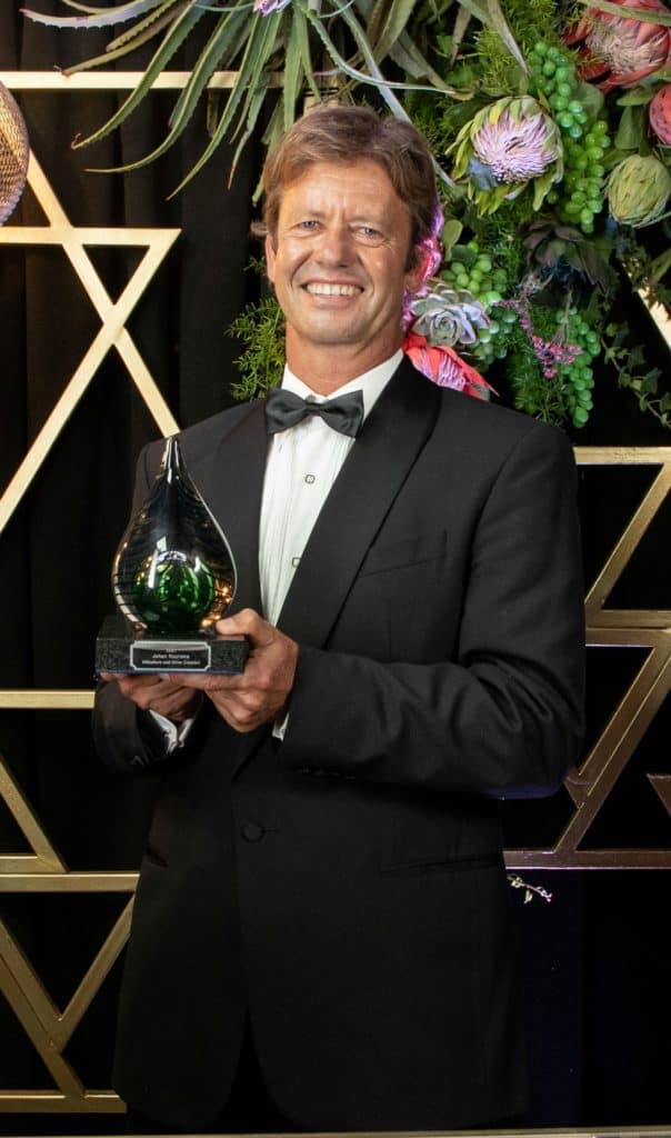 Johan Reyneke was honoured with the Viticulture and Wine Creation Award. Photo: Supplied/Food For Mzansi