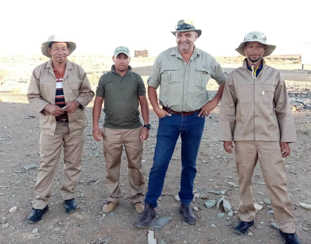 Driving the commercial production of saffron are Saffricon's Martiens Ruiters, William Klaaste, Bennie Engelbrecht, the founder and a director of Saffricon, and Nicol Ruiters. Photo: Supplied/Food For Mzansi