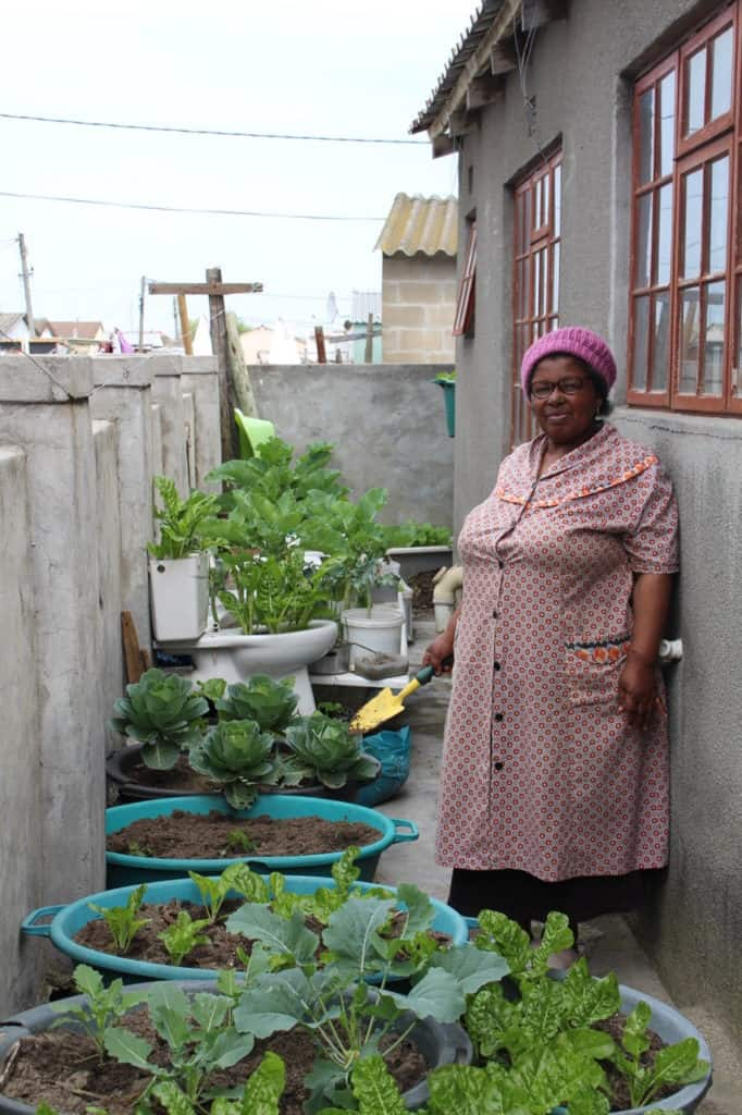 Abalimi Bezekhaya also provides extension services to community members with home visits to teach people how to grow their own vegetables organically. Photo:Supplied/Food For Mzansi
