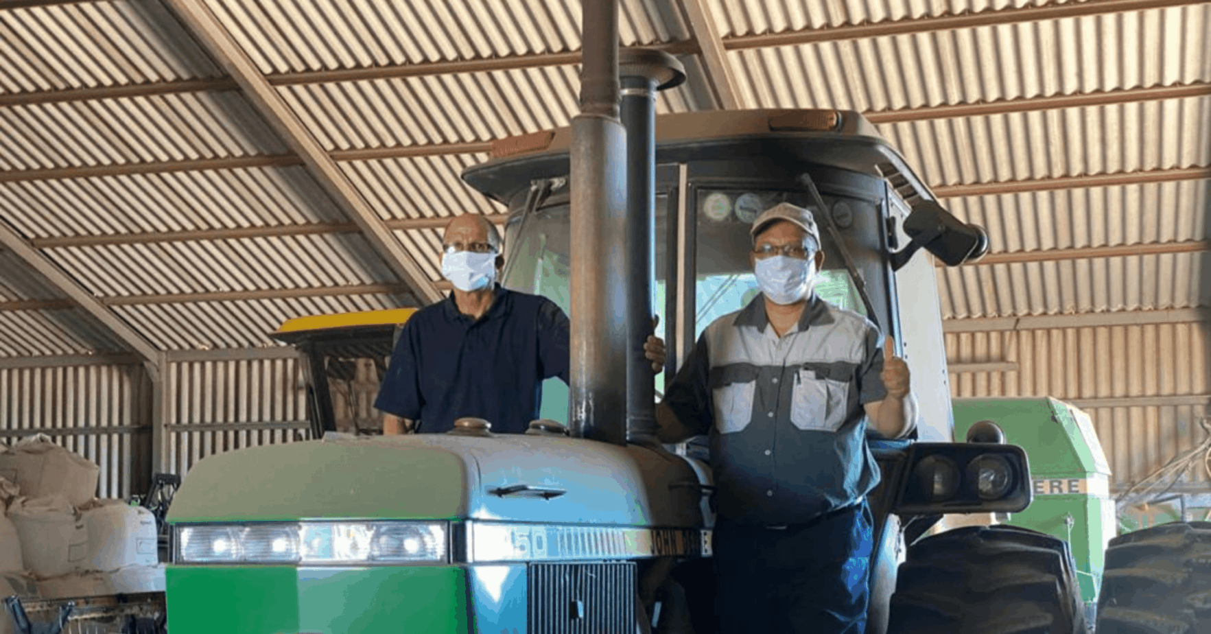 Pig farmer Ivan Cloete with the Western Cape minister of agriculture, Dr Ivan Meyer. Meyer wrote to minister Thoko Didiza to stop government's attempts to move Cloete from the Colenso state farm in Darling in the Western Cape. Photo: Supplied/Food For Mzansi