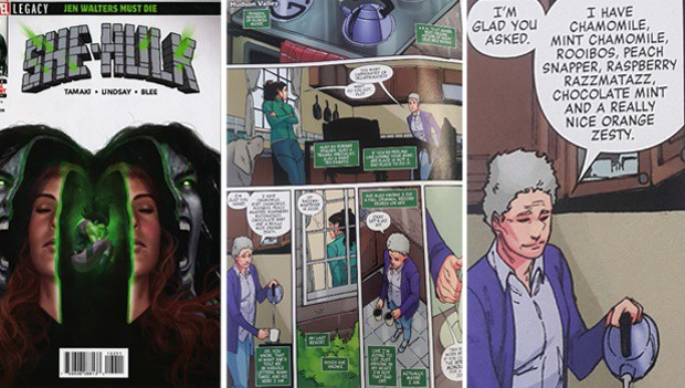 Marvel Comics mentioned rooibos in an earlier edition of She-Hulk when psychiatrist Flo Mayer offered Jennifer Walters (also known as She-Hulk) a cup of rooibos tea to calm her down. Photo: Marvel Comics