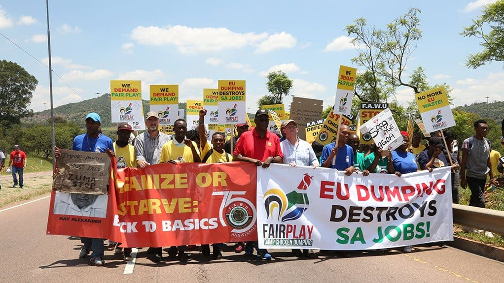 The Food and Allied Workers Union and the South African Poultry Association earlier handed a memorandum to the European Union's offices in Pretoria over the claimed dumping of chicken in South Africa. Photo: Supplied/Food For Mzansi