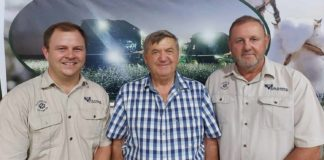 Johan Wolhuter, Jannie Terblanche and Louis Olivier, the new management team behind the Vaalharts-Loskop Cotton. Photo: Supplied/Food For Mzansi