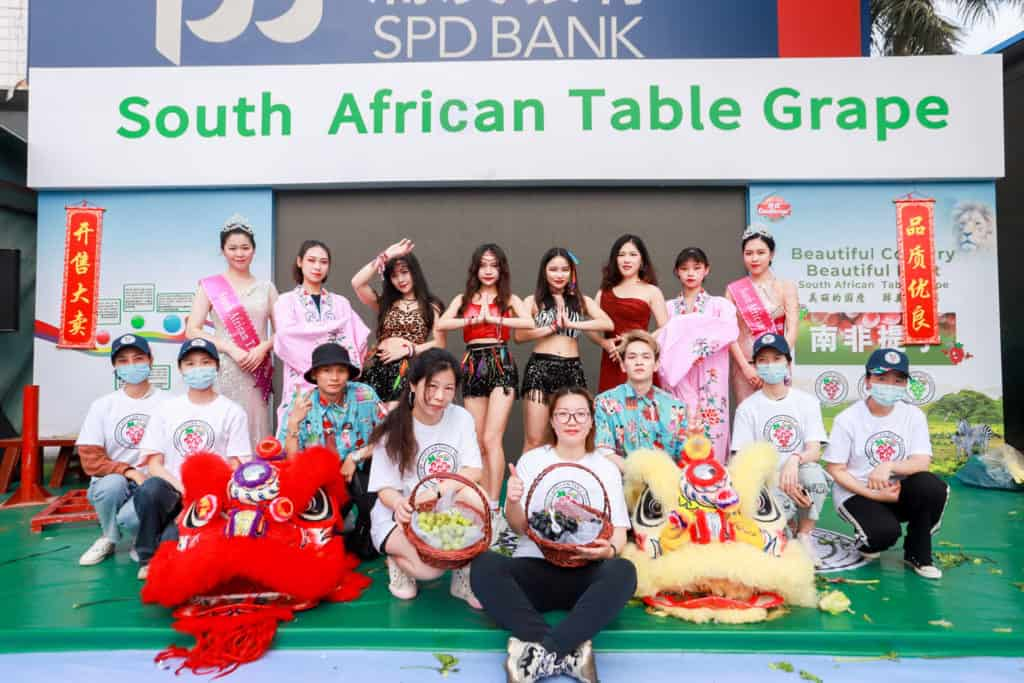 The South African Table Grape Industry (SATI) celebrated the start of its 2021 table grape season in China. Photo: Supplied/Food For Mzansi
