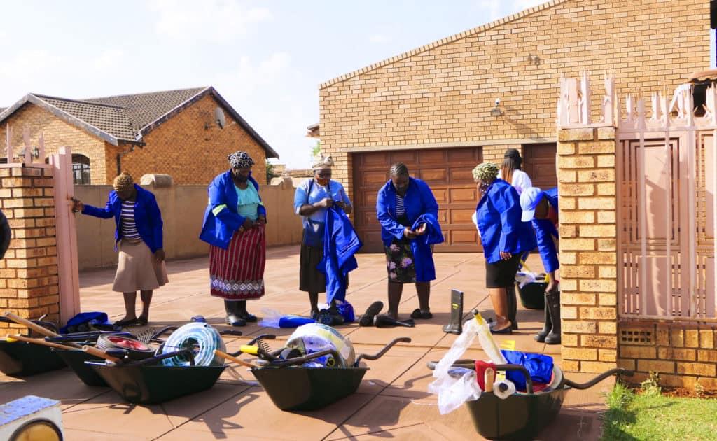 Farmers receiving garden input tools and poultry starter packs in Palmridge, Katlehong. Photo: Funiwe Ngwenya/Food For Mzansi
