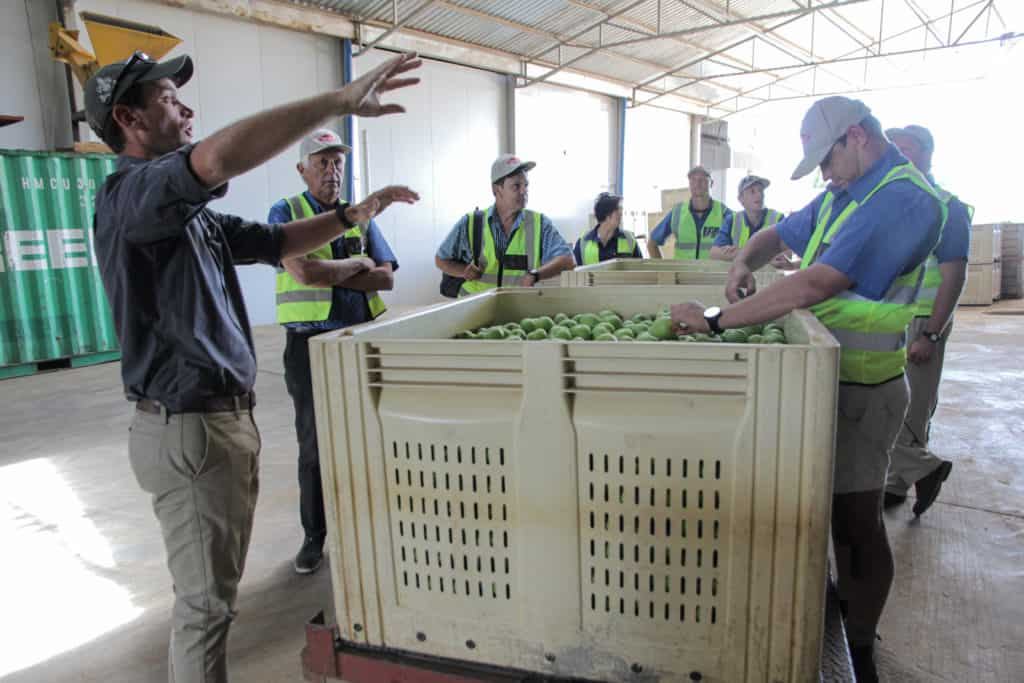 Doug Osler, Free State Agriculture's Young Farmer of the Year, interacting with workers in the apple warehouse of his Fourieshoek farm. Photo: Supplied/Food For Mzansi