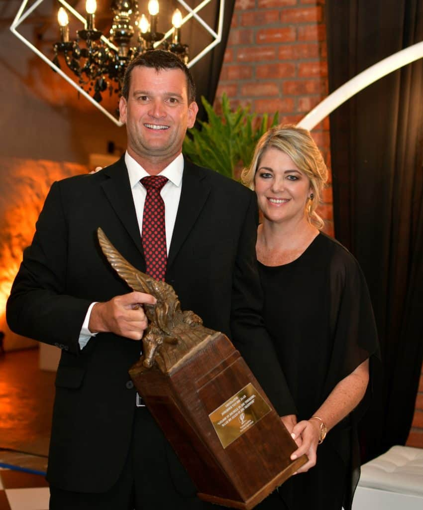 Described as a true gentleman, Fouriesburg's Doug Osler was this evening announced as Free State Agriculture's 25th Young Farmer of the Year. He celebrated his big win with his wife, Megan. Photo: Supplied/Food For Mzansi