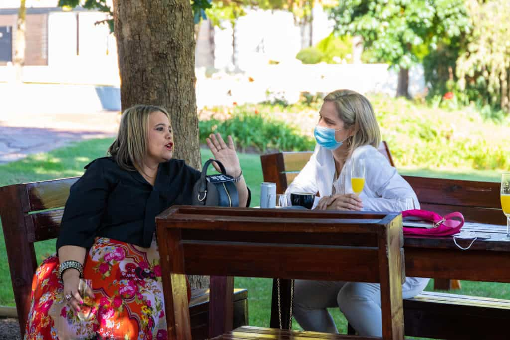 The CEO of YehBaby Digital, Ronelle Louwrens (right), in conversation with well-loved Namaqualand storyteller Danneline Ramsden. Photo: Food For Mzansi