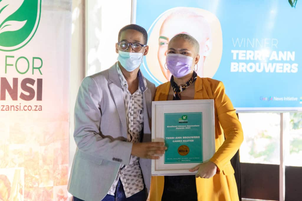 Terri-Ann Brouwers was announced as Sinelizwi's citizen journalist of the year. She is currently studying towards a journalism degree and described the programme as a life-saver while battling with mental health challenges. Photo: Food For Mzansi