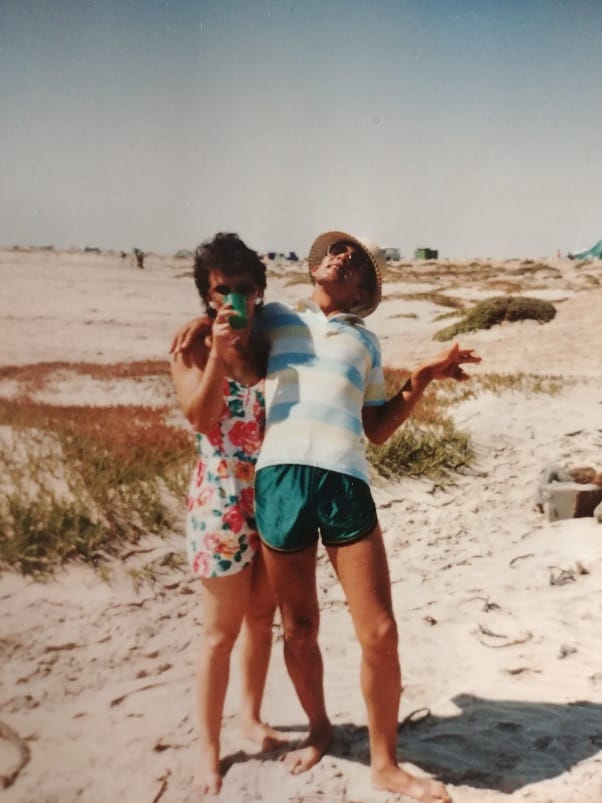Easter memories: Lucinda Dordley's grandparents, Christine and Brian Pienaar, pictured in the 90s, enjoying the beach at Walvis Bay in Namibia. Photo: Supplied/Food For Mzansi