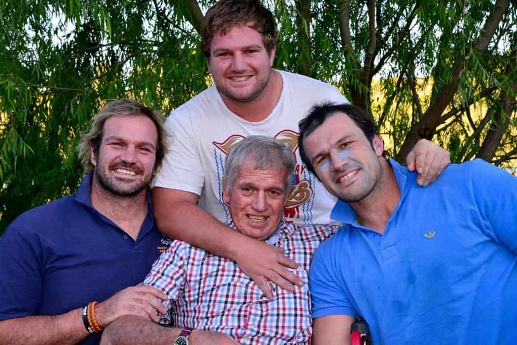 The Du Plessis brothers, Jannie, Tabbie and Bismarck, with their late father, Francois. He played an instrumental role in their careers and love for farming. Photo: Facebook