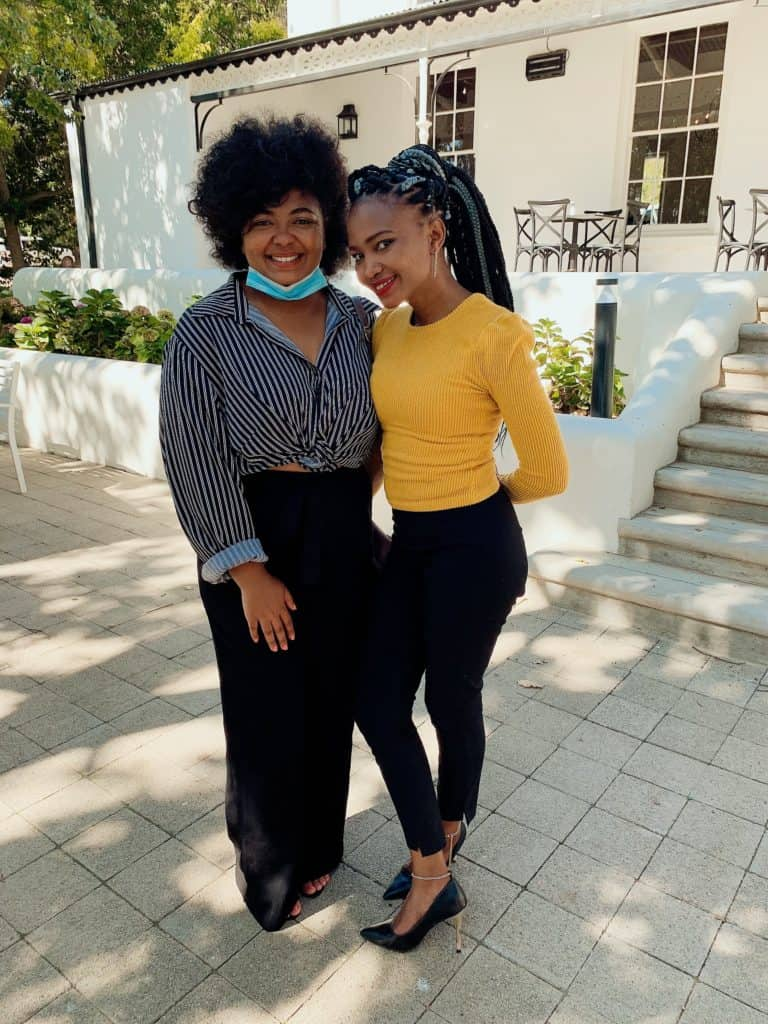 Chanelle Davids-Abrahams hosted the Sinelizwi Citizen Journalism Awards. She is featured with Lieketseng Lecheko, the top performer in the Free State. Photo: Food For Mzansi