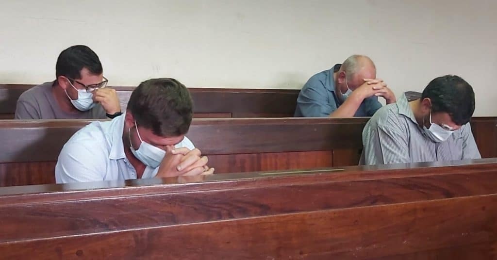 Mkhondo farmers Daniel Malan, Othard Klingenberg, Cornelius Greyling, Ignatius Steinberg and foreman Zenzele Yende stand accused of murdering two brothers. Photo: Supplied/Food For Mzansi